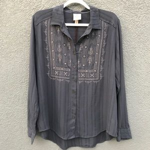 Knox Rose Gray button up top size large